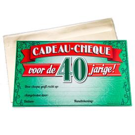 Gift Cheque 40 jaar