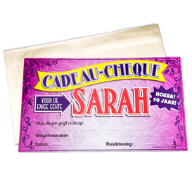 Gift Cheque Sarah