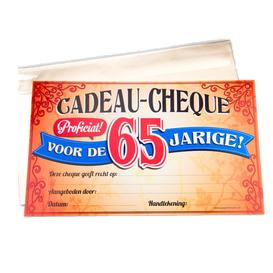 Gift Cheque 65 jaar