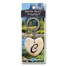 Marble Heart Letter C Keyring