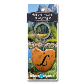 Marble Heart Letter L Keyring