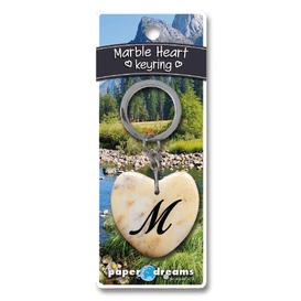 Marble Heart Letter M Keyring
