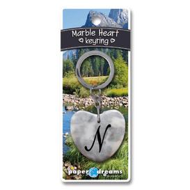 Marble Heart Letter N Keyring