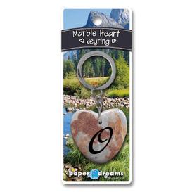 Marble Heart Letter O Keyring