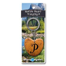 Marble Heart Letter P Keyring