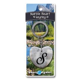 Marble Heart Letter S Keyring