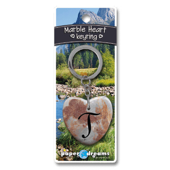 Marble Heart Letter T Keyring