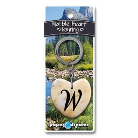 Marble Heart Letter W Keyring