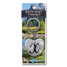 Marble Heart Letter X Keyring