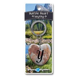 Marble Heart Letter Y Keyring