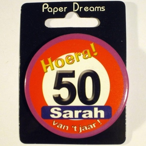 Button Hoera 50 Sarah