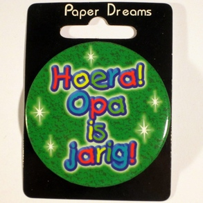 Button Hoera Opa is jarig