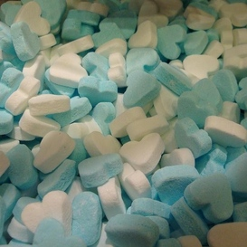 Geboorte hartjes blauw-wit kilo