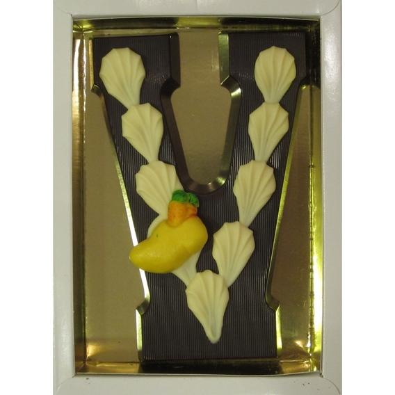 Puurchocolade letter V deco 220 gram