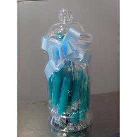 Geboorte snoeppot blauw met zuurstokjes