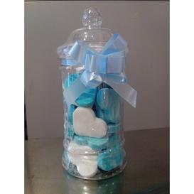 Geboorte snoeppot blauw met Vruchtenharten