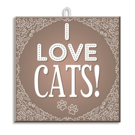 Slogan Tegel I Love Cats